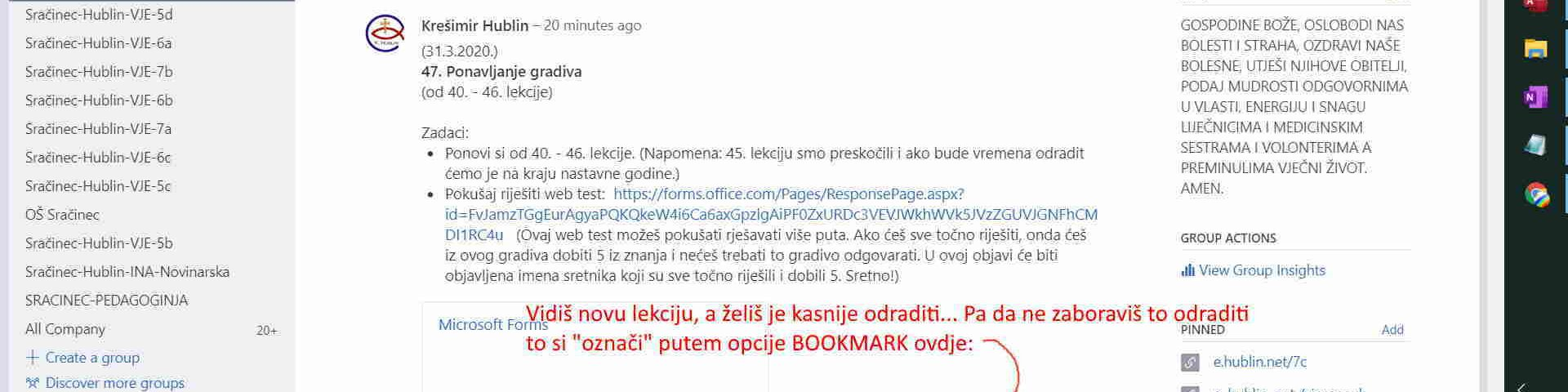 Kako bookmarkirati (označiti) post u Yammer-u